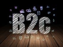 Concept d'affaires : B2c dans la chambre noire grunge Image stock