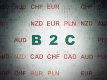 Concept d'affaires : B2c sur le fond de papier de données numériques Image stock