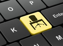 Concept d'affaires : Bureau sur le fond de clavier d'ordinateur Photo stock