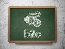 Concept d'affaires : Calculatrice et B2c sur le tableau Images stock