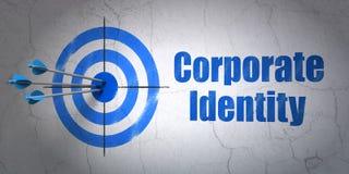 Concept d'affaires : cible et identité d'entreprise sur le fond de mur Image libre de droits