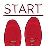 Concept d'affaires commençant le trait Pieds dans des chaussures masculines sur la route Effectuez un choix Vecteur Image libre de droits