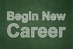 Concept d'affaires : Commencez la nouvelle carrière sur le fond de tableau Image stock
