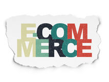 Concept d'affaires : Commerce électronique sur le papier déchiré Photographie stock libre de droits