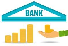 Concept d'affaires Dépôts en banque, l'accumulation de l'argent Vecteur Style plat Photographie stock libre de droits