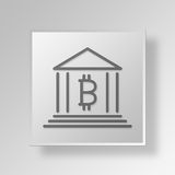 concept d'affaires d'icône de banque de 3D Bitcoin Photo stock
