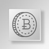 concept d'affaires d'icône de 3D Bitcoin Photos stock