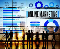 Concept d'affaires de commerce électronique de marketing en ligne Images stock