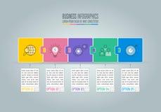 Concept d'affaires de conception d'Infographic avec 5 options, parts ou pro illustration de vecteur
