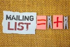 Concept d'affaires de liste d'adresses des textes d'écriture de Word pour des noms et adresse des personnes vous allez envoyer qu photographie stock