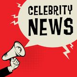 Concept d'affaires de main de mégaphone avec des actualités de célébrité des textes illustration libre de droits