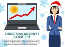 Concept d'affaires de Noël et de nouvelle année Femme d'affaires avec l'ordinateur Vers le haut du graphique avec le symbole doll Photographie stock