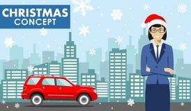 Concept d'affaires de Noël et de nouvelle année Illustration détaillée de jeune femme d'affaires dans le chapeau de Santa Claus d Photographie stock