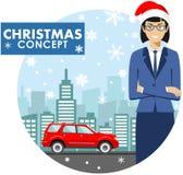 Concept d'affaires de Noël et de nouvelle année Illustration détaillée de jeune femme d'affaires dans le chapeau de Santa Claus d Photo libre de droits