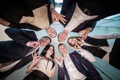 Concept d'affaires, de personnes et de travail d'équipe - groupe de sourire des affaires Images libres de droits