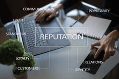 Concept d'affaires de réputation et de relations de client sur l'écran virtuel photos libres de droits