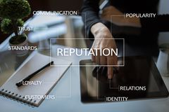 Concept d'affaires de réputation et de relations de client sur l'écran virtuel image libre de droits