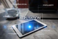 Concept d'affaires de réputation et de relations de client sur l'écran virtuel photographie stock libre de droits