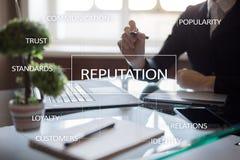 Concept d'affaires de réputation et de relations de client sur l'écran virtuel photos stock