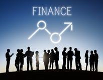 Concept d'affaires de sciences économiques d'occasions de bénéfice de hausse de finances Photos stock
