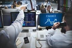 Concept d'affaires de sciences économiques d'occasions de bénéfice de hausse de finances Photos libres de droits