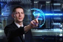 Concept d'affaires, de technologie, d'Internet et de réseau Jeune busine Image stock