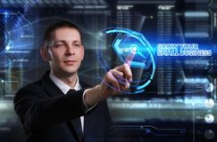 Concept d'affaires, de technologie, d'Internet et de réseau Jeune busine Photo stock