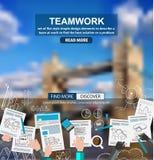 Concept d'affaires de travail d'équipe avec le fond de croquis de griffonnages : Photo stock