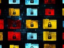 Concept d'affaires : Dossier avec des icônes de serrure dessus Images stock