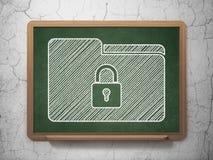 Concept d'affaires : Dossier avec la serrure sur le fond de tableau Image libre de droits