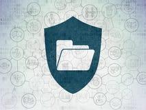 Concept d'affaires : Dossier avec le bouclier sur numérique Photos libres de droits