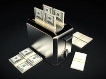 Concept d'affaires - $100 factures avec le grille-pain Images stock