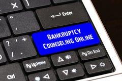 Concept d'affaires - faillite bleue conseillant le bouton en ligne sur S Illustration Libre de Droits