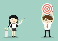 Concept d'affaires, femme d'affaires tirant la cible illustration stock
