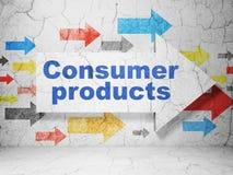 Concept d'affaires : flèche avec des produits de consommation sur le fond grunge de mur Photos libres de droits