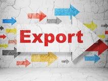 Concept d'affaires : flèche avec l'exportation sur le fond grunge de mur Photographie stock libre de droits