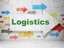 Concept d'affaires : flèche avec la logistique sur le fond grunge de mur Images libres de droits