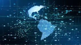 Concept d'affaires globales de mouvement de particules de la terre banque de vidéos