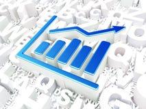 Concept d'affaires : Graphique de croissance sur le fond d'alphabet Images libres de droits