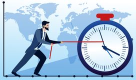 Concept d'affaires Homme d'affaires essayant d'arrêter le temps Éléments géométriques sur le fond de carte du monde Vecteur plat illustration stock