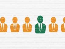 Concept d'affaires : icône d'homme d'affaires sur le mur Image libre de droits