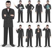 Concept d'affaires Illustration détaillée d'homme d'affaires juif se tenant dans différentes positions dans le style plat d'isole Images stock