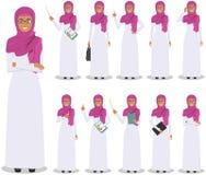 Concept d'affaires Illustration détaillée de la femme d'affaires Arabe musulmane se tenant dans différentes positions dans le sty Photographie stock libre de droits