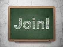 Concept d'affaires : Joignez ! sur le fond de tableau Image libre de droits