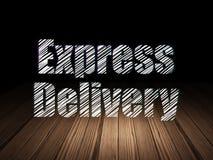 Concept d'affaires : La livraison express dans l'obscurité grunge Image libre de droits