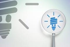 Concept d'affaires : Lampe économiseuse d'énergie avec le verre optique sur le fond numérique Photos stock