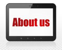 Concept d'affaires : Ordinateur de PC de Tablette avec le qui sommes-nous sur l'affichage Images stock