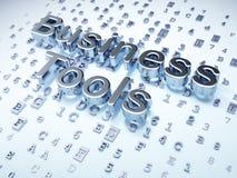 Concept d'affaires : Outils argentés d'affaires sur le fond numérique Image libre de droits