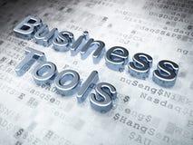 Concept d'affaires : Outils argentés d'affaires sur le fond numérique Images libres de droits