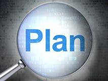 Concept d'affaires : Plan avec le verre optique Photos stock